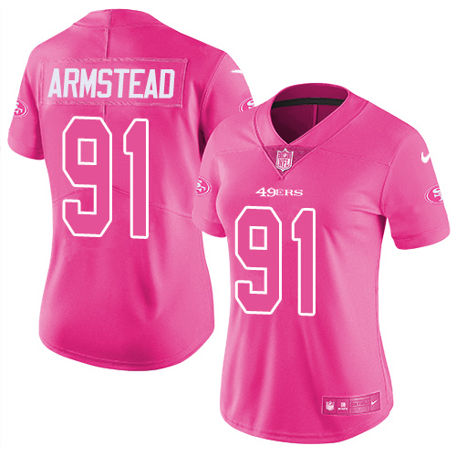 Nike 49ers #91 Arik Armstead Pink Women's Stitched NFL Limited Rush Fashion Jersey
