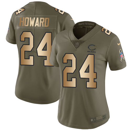 Nike Bears #24 Jordan Howard Olive/Gold Women's Stitched NFL Limited Salute to Service Jersey