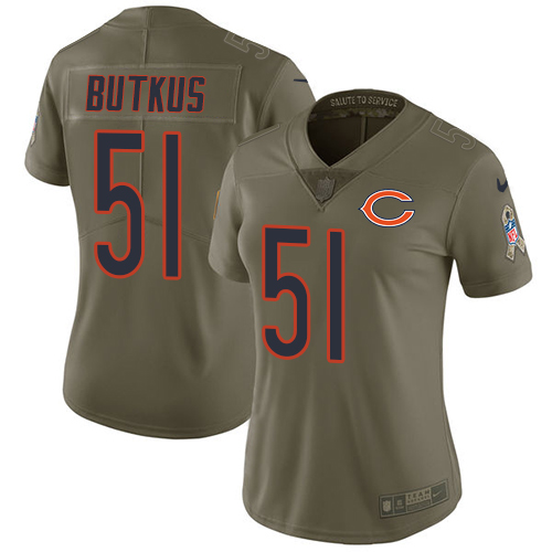 Nike Bears #51 Dick Butkus Olive Women's Stitched NFL Limited Salute to Service Jersey