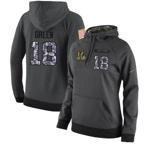 NFL Women's Nike Cincinnati Bengals #18 A.J. Green Stitched Black Anthracite Salute to Service Player Performance Hoodie