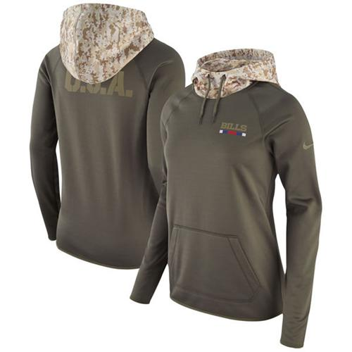 Women's Buffalo Bills Nike Olive Salute to Service Performance Pullover Hoodie