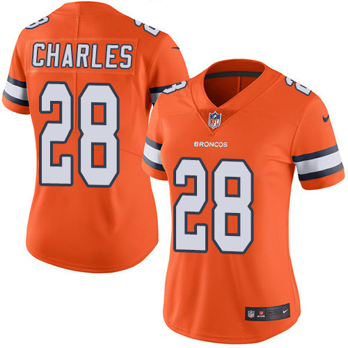 Nike Broncos #28 Jamaal Charles Orange Women's Stitched NFL Limited Rush Jersey