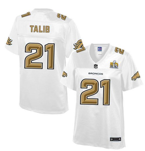 Nike Broncos #21 Aqib Talib White Women's NFL Pro Line Super Bowl 50 Fashion Game Jersey