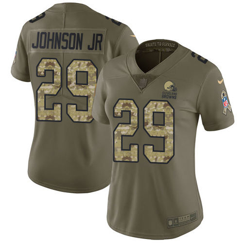 Nike Browns #29 Duke Johnson Jr Olive/Camo Women's Stitched NFL Limited Salute to Service Jersey