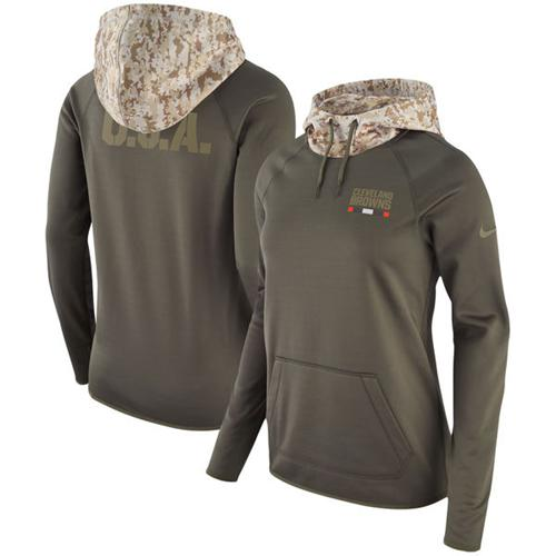 Women's Cleveland Browns Nike Olive Salute to Service Performance Pullover Hoodie