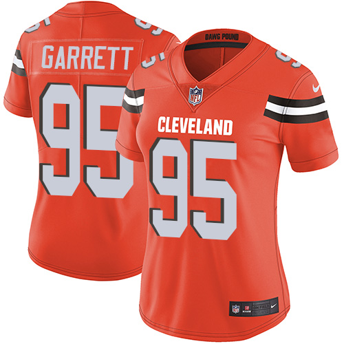 Nike Browns #95 Myles Garrett Orange Alternate Women's Stitched NFL Vapor Untouchable Limited Jersey