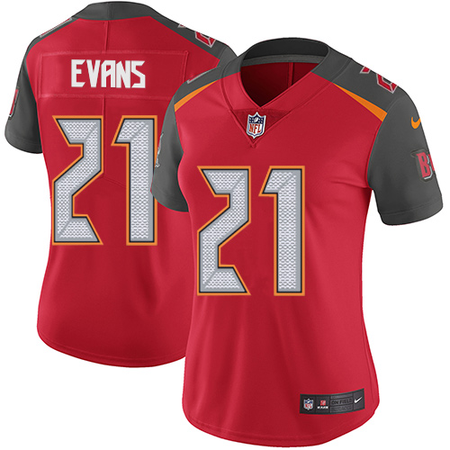 Nike Buccaneers #21 Justin Evans Red Team Color Women's Stitched NFL Vapor Untouchable Limited Jersey