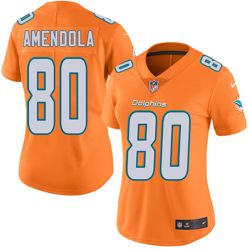 Nike Dolphins #80 Danny Amendola Orange Women's Stitched NFL Limited Rush Jersey