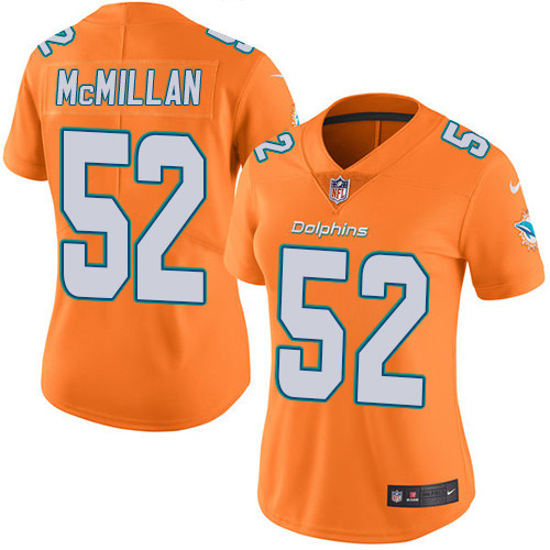 Nike Dolphins #52 Raekwon McMillan Orange Women's Stitched NFL Limited Rush Jersey