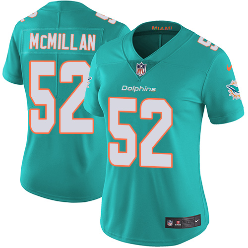 Nike Dolphins #52 Raekwon McMillan Aqua Green Team Color Women's Stitched NFL Vapor Untouchable Limited Jersey
