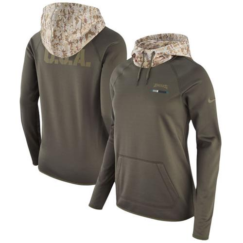 Women's Philadelphia Eagles Nike Olive Salute to Service Performance Pullover Hoodie