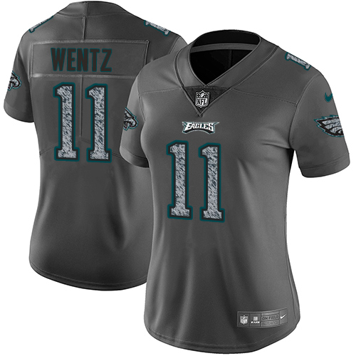 Nike Eagles #11 Carson Wentz Gray Static Women's Stitched NFL Vapor Untouchable Limited Jersey