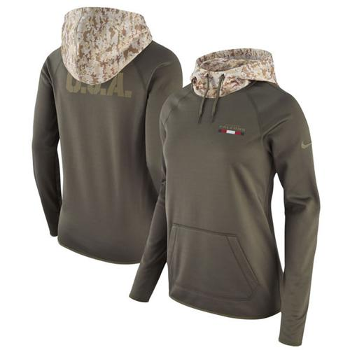 Women's Atlanta Falcons Nike Olive Salute to Service Performance Pullover Hoodie