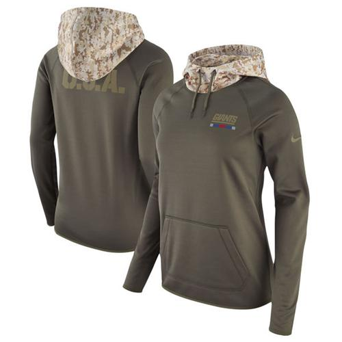 Women's New York Giants Nike Olive Salute to Service Performance Pullover Hoodie