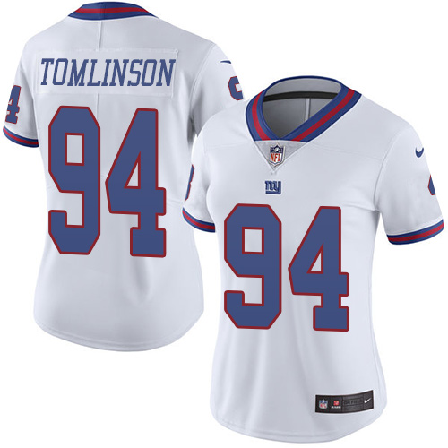Nike Giants #94 Dalvin Tomlinson White Women's Stitched NFL Limited Rush Jersey