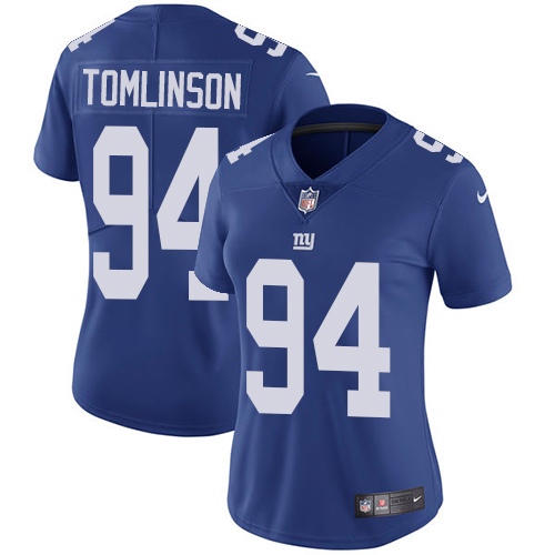 Nike Giants #94 Dalvin Tomlinson Royal Blue Team Color Women's Stitched NFL Vapor Untouchable Limited Jersey