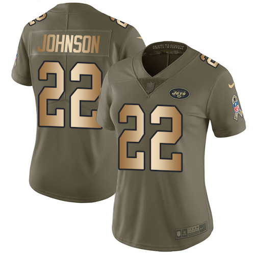Nike Jets #22 Trumaine Johnson Olive/Gold Women's Stitched NFL Limited Salute to Service Jersey