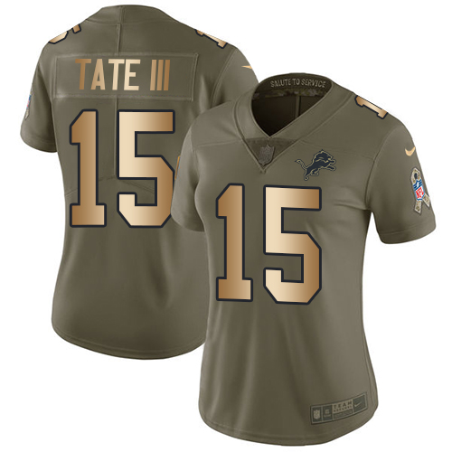 Nike Lions #15 Golden Tate III Olive/Gold Women's Stitched NFL Limited Salute to Service Jersey