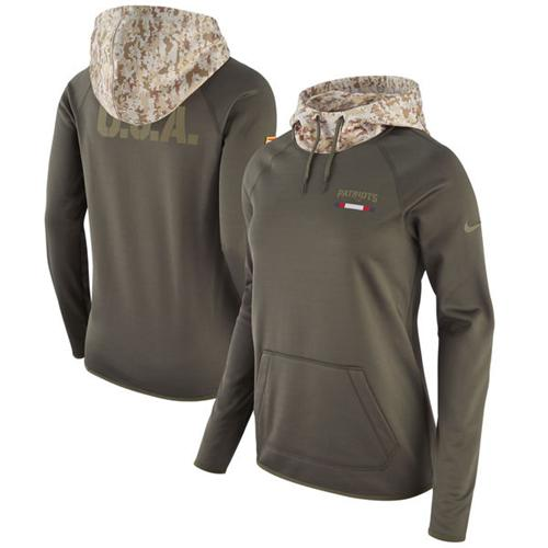 Women's New England Patriots Nike Olive Salute to Service Performance Pullover Hoodie