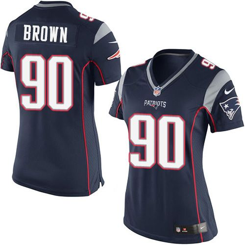 Nike Patriots #90 Malcom Brown Navy Blue Team Color Women's Stitched NFL New Elite Jersey