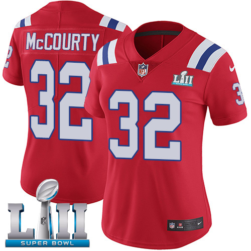 Nike Patriots #32 Devin McCourty Red Alternate Super Bowl LII Women's Stitched NFL Vapor Untouchable Limited Jersey