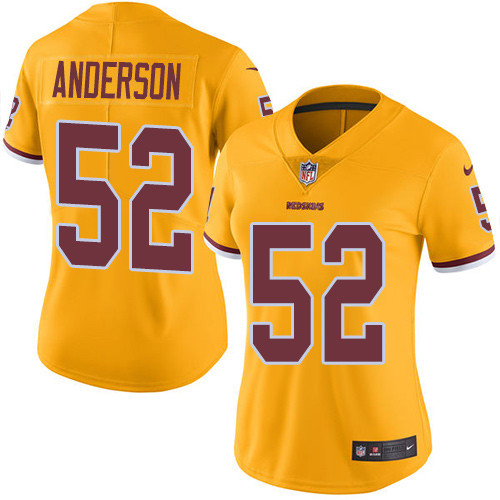 Nike Redskins #52 Ryan Anderson Gold Women's Stitched NFL Limited Rush Jersey