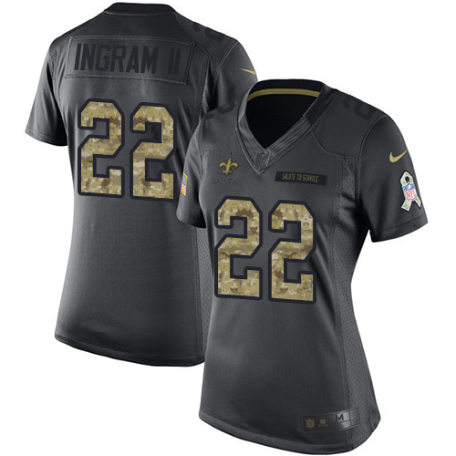 Nike Saints #22 Mark Ingram II Black Women's Stitched NFL Limited 2016 Salute to Service Jersey