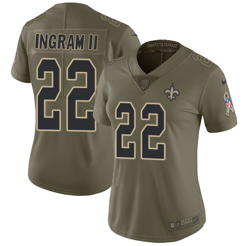 Nike Saints #22 Mark Ingram II Olive Women's Stitched NFL Limited Salute to Service Jersey