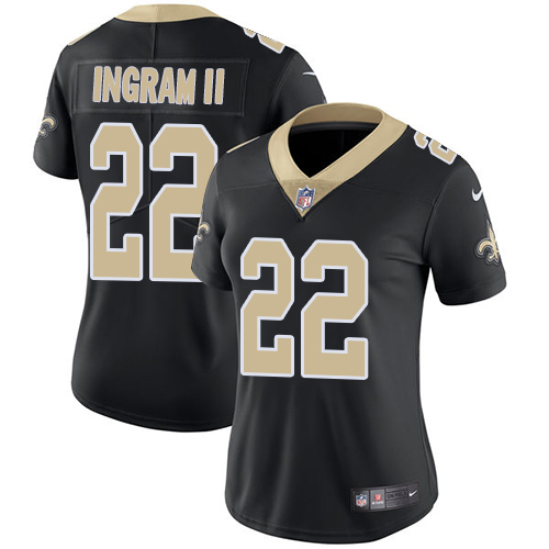 Nike Saints #22 Mark Ingram II Black Team Color Women's Stitched NFL Vapor Untouchable Limited Jersey
