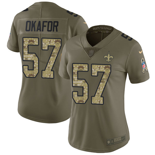 Nike Saints #57 Alex Okafor Olive/Camo Women's Stitched NFL Limited Salute to Service Jersey