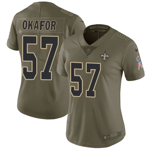 Nike Saints #57 Alex Okafor Olive Women's Stitched NFL Limited Salute to Service Jersey