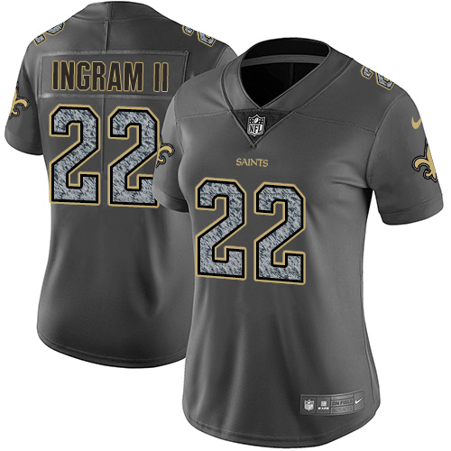 Nike Saints #22 Mark Ingram II Gray Static Women's Stitched NFL Vapor Untouchable Limited Jersey