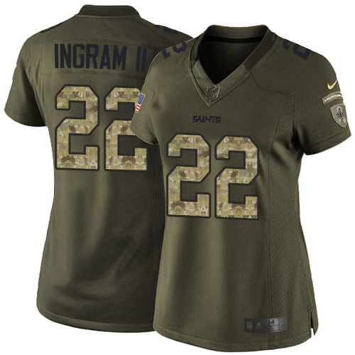 Nike Saints #22 Mark Ingram II Green Women's Stitched NFL Limited 2015 Salute to Service Jersey