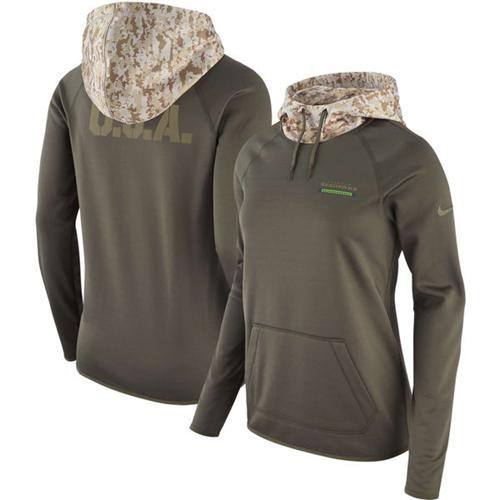 Women's Seattle Seahawks Nike Olive Salute to Service Performance Pullover Hoodie