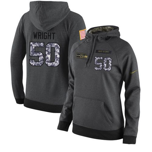 NFL Women's Nike Seattle Seahawks #50 K.J. Wright Stitched Black Anthracite Salute to Service Player Performance Hoodie
