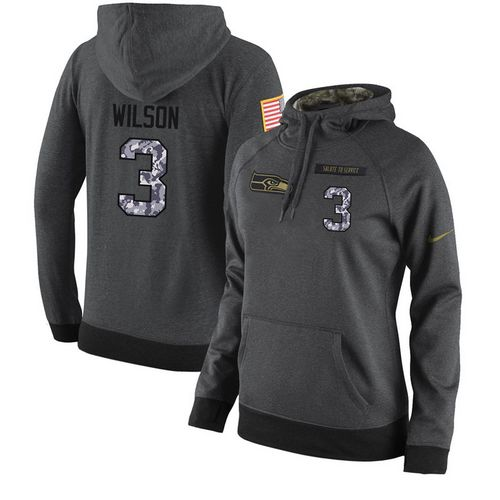 NFL Women's Nike Seattle Seahawks #3 Russell Wilson Stitched Black Anthracite Salute to Service Player Performance Hoodie