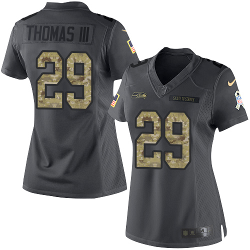 Nike Seahawks #29 Earl Thomas III Black Women's Stitched NFL Limited 2016 Salute to Service Jersey
