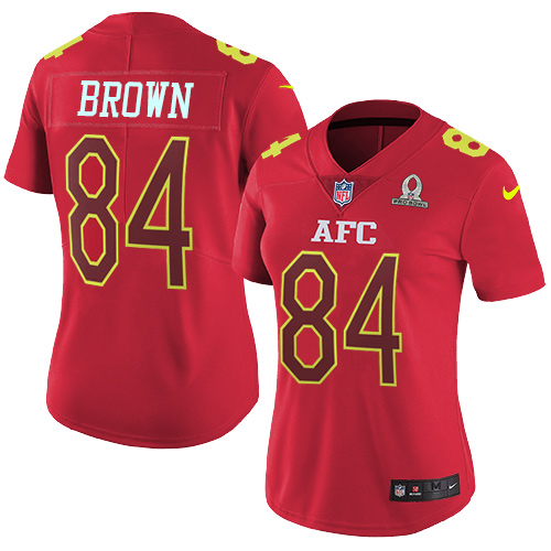 Nike Steelers #84 Antonio Brown Red Women's Stitched NFL Limited AFC Pro Bowl Jersey