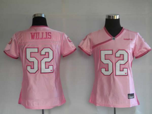 49ers #52 Patrick Willis Pink Women's Be Luv'd Stitched NFL Jersey
