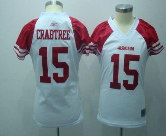 49ers #15 Michael Crabtree White Women's Field Flirt Stitched NFL Jersey