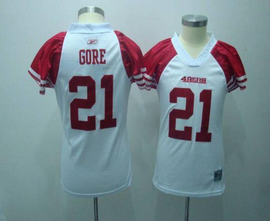 49ers #21 Frank Gore White Women's Field Flirt Stitched NFL Jersey
