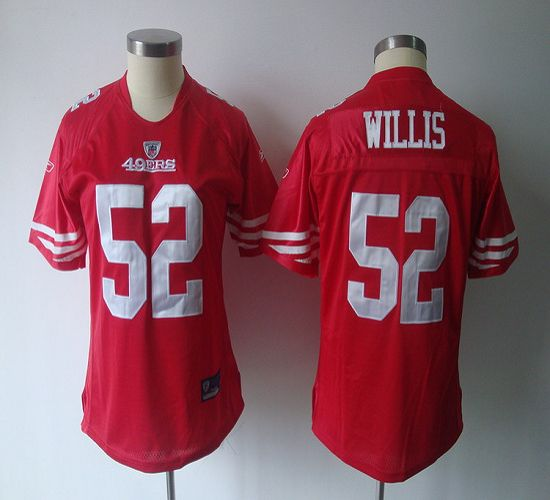 49ers #52 Patrick Willis Red Women's Team Color Stitched NFL Jersey