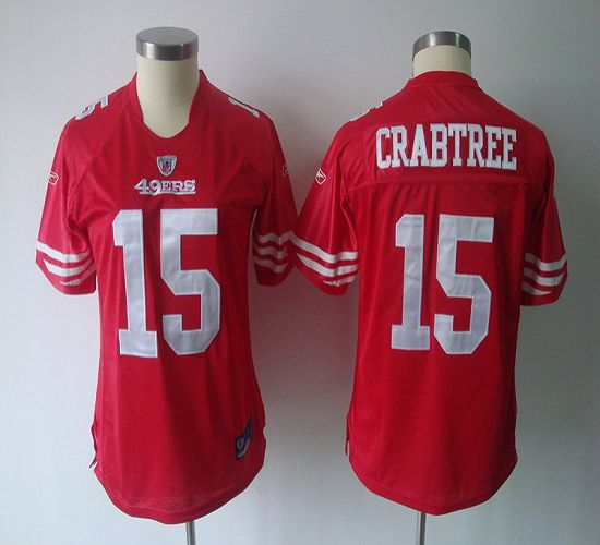49ers #15 Michael Crabtree Red Women's Team Color Stitched NFL Jersey