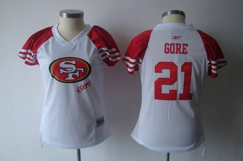 49ers #21 Frank Gore White 2011 Women's Field Flirt Stitched NFL Jersey