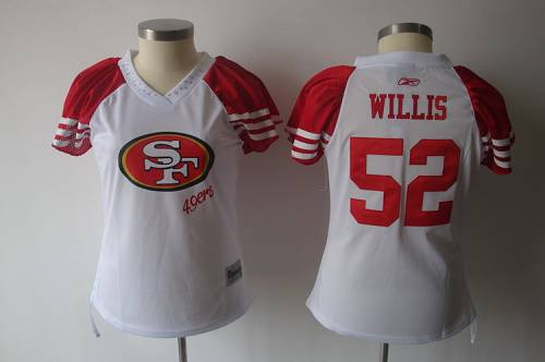 49ers #52 Patrick Willis White 2011 Women's Field Flirt Stitched NFL Jersey