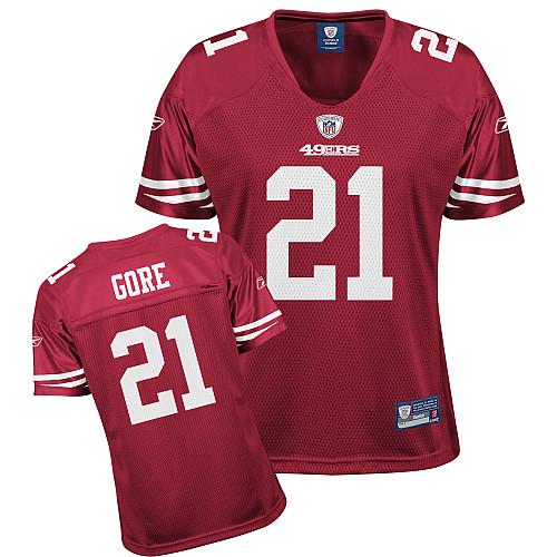 49ers #21 Frank Gore Red Women's Team Color Stitched NFL Jersey