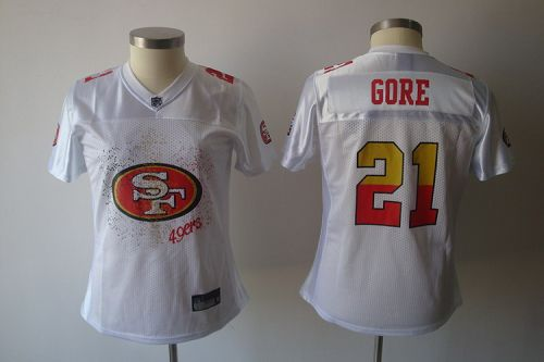 49ers #21 Frank Gore White 2011 Women's Fem Fan Stitched NFL Jersey