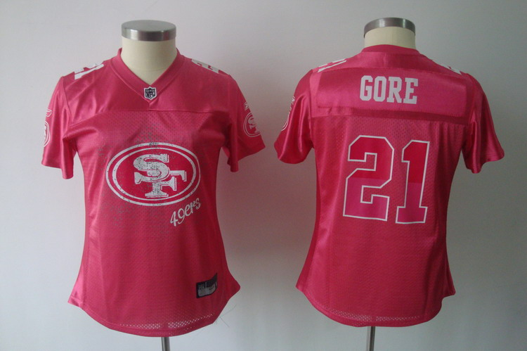 49ers #21 Frank Gore Pink 2011 Women's Fem Fan Stitched NFL Jersey