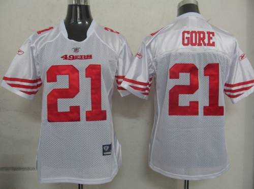 49ers #21 Frank Gore White Women's Team Color Stitched NFL Jersey