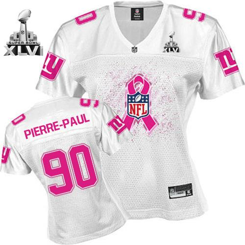 Giants #90 Jason Pierre-Paul White 2011 Breast Cancer Awareness Super Bowl XLVI Stitched NFL Jersey